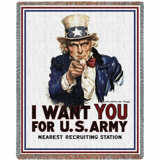 I Want You Uncle Sam Vintage Recruiting Poster Throw Blanket