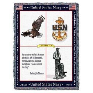 US Naval Memorial Veteran Fallen Seaman Prayer Woven Throw Blanket