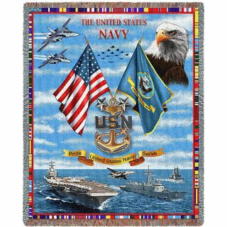 Navy Chiefs USN Gift For Veteran Soldier Woven Throw Blanket
