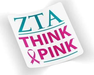 ZTA - Zeta Tau Alpha Think Pink Decal
