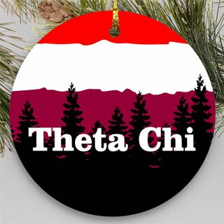 Fraternity Round Christmas Mountains Ornament