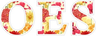 "OES Floral Greek Letter Sticker - 2.5"" Tall"