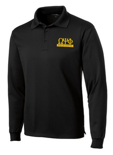Omega Psi Phi- $30 World Famous Long Sleeve Dry Fit Polo