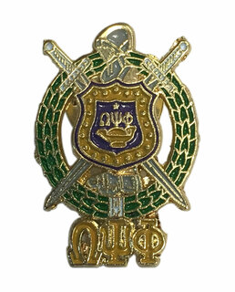 Omega Psi Phi 3D Color Shield w Letters Pins