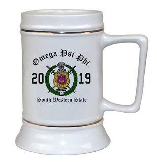 Omega Psi Phi Ceramic Crest & Year Ceramic Stein Tankard - 28 ozs!