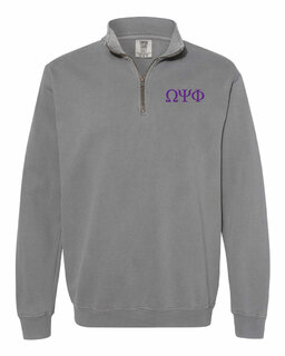 Omega Psi Phi Comfort Colors Garment-Dyed Quarter Zip Sweatshirt