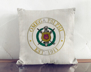 Omega Psi Phi Crest Linen Pillow