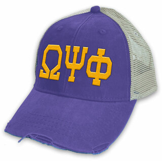 Omega Psi Phi Distressed Trucker Hat