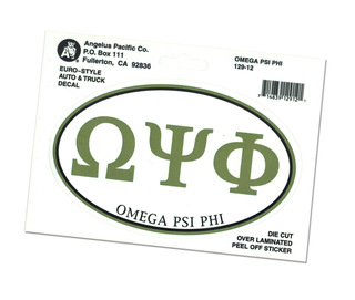 Omega Psi Phi Euro Decal Oval Sticker