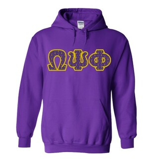 Omega Psi Phi Fraternity Crest - Shield Twill Letter Hooded Sweatshirt