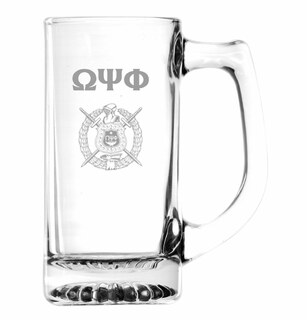 Omega Psi Phi Glass Engraved Mug