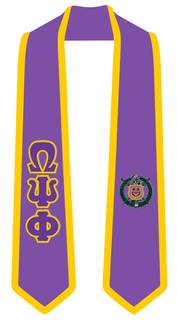 Omega Psi Phi Greek 2 Tone Lettered Graduation Sash Stole