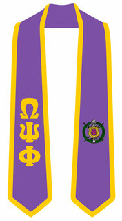 DISCOUNT-Omega Psi Phi Greek 2 Tone Lettered Graduation Sash Stole