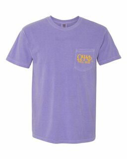 Omega Psi Phi Greek Letter Comfort Colors Pocket Tee