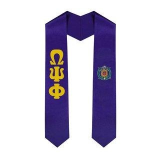 Omega Psi Phi Greek Lettered Graduation Sash Stole With Crest