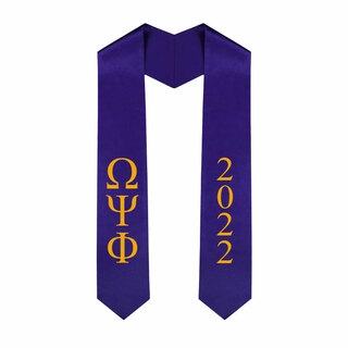 Omega Psi Phi Greek Lettered Graduation Sash Stole With Year - Best Value