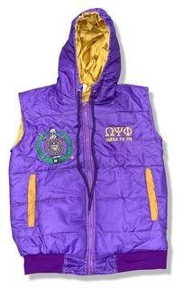 Omega Psi Phi Hooded Puffy Vest Jacket