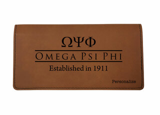 Omega Psi Phi Leatherette Checkbook Cover