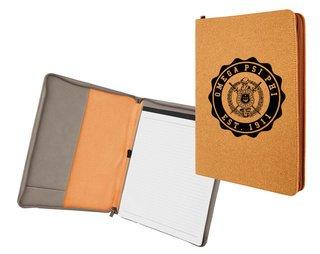 Omega Psi Phi Leatherette Zipper Portfolio with Notepad