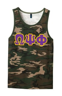 DISCOUNT-Omega Psi Phi Lettered Camouflage Tank