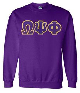 Omega Psi Phi Sewn Lettered Crewneck Sweatshirt