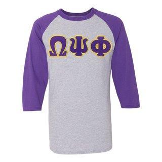 DISCOUNT-Omega-Psi-Phi Lettered Raglan Shirt