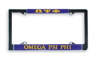 Omega Psi Phi Metal License Plate Frame - FREE GROUND SHIPPING