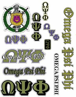 Omega Psi Phi Multi Greek Decal Sticker Sheet