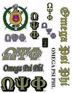 Omega Psi Phi Multi Greek Decal Sticker Sheet