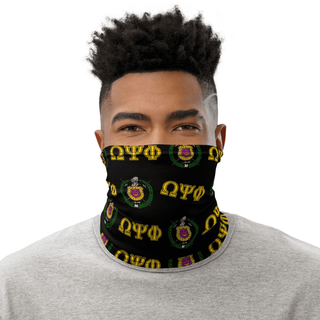 Omega Psi Phi Neck Gaiter - Black With Crest