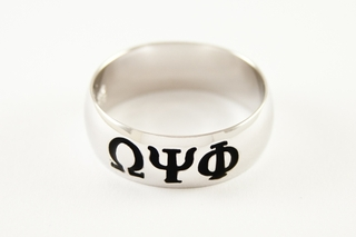 Omega Psi Phi Sterling Silver Band Ring
