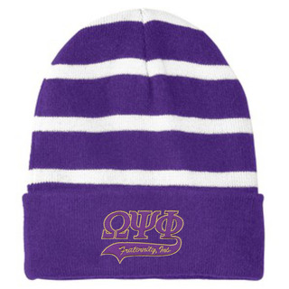 Omega Psi Phi Striped Beanie with Solid Band