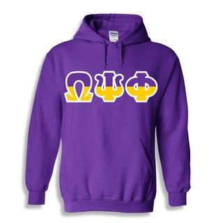 Omega Psi Phi Two Tone Greek Lettered Hooded Sweatshirt