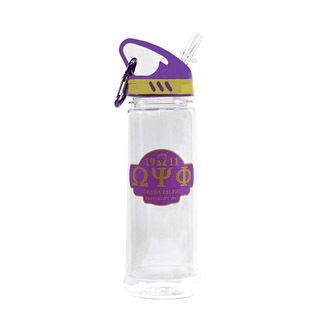 Omega Psi Phi Water Bottle W/Carabiner Hook