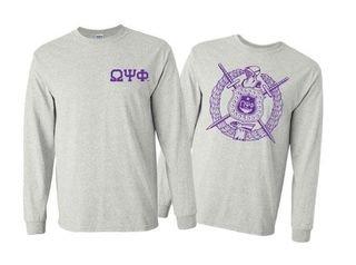Omega Psi Phi World Famous Crest - Shield Long Sleeve T-Shirt- $19.95!