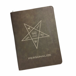 Order Of Eastern Star Zipper Leatherette Portfolio with Notepad