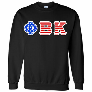 Phi Beta Kappa Greek Letter American Flag Crewneck