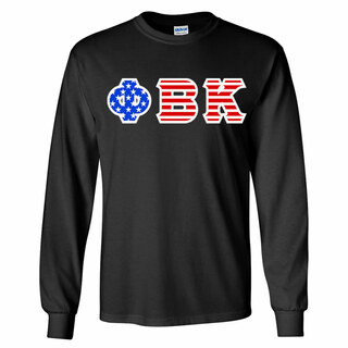 Phi Beta Kappa Greek Letter American Flag long sleeve tee