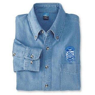 DISCOUNT-Phi Beta Sigma Denim Shirt - Shield