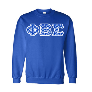 Phi Beta Sigma Fraternity Crest - Shield Twill Letter Crewneck Sweatshirt