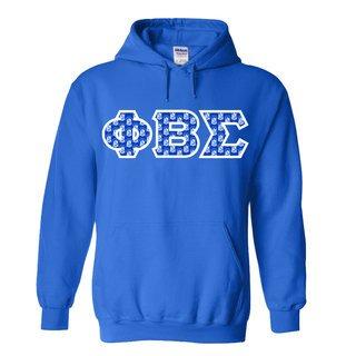 Phi Beta Sigma Fraternity Crest - Shield Twill Letter Hooded Sweatshirt