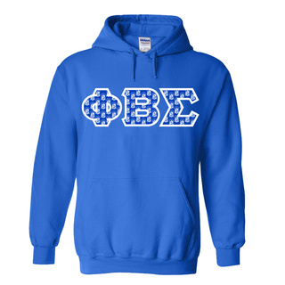 Phi Beta Sigma Fraternity Crest - Shield Twill Letter Hooded Sweatshirt