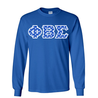 Phi Beta Sigma Fraternity Crest - Shield Twill Letter Longsleeve Tee