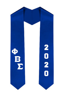 Phi Beta Sigma Greek Diagonal Lettered Graduation Sash Stole With Year