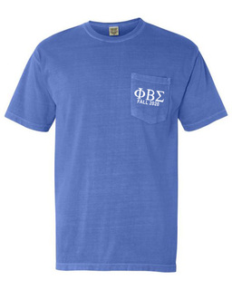 Phi Beta Sigma Greek Letter Comfort Colors Pocket Tee