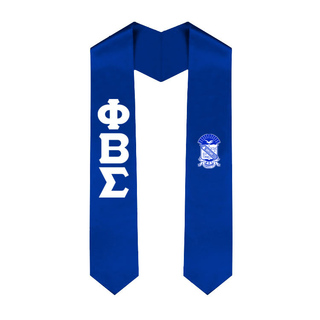 Phi Beta Sigma Greek Lettered Graduation Sash Stole With Crest