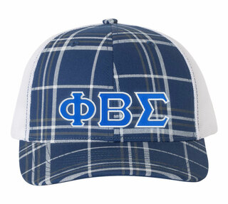 Phi Beta Sigma Plaid Snapback Trucker Hat - CLOSEOUT