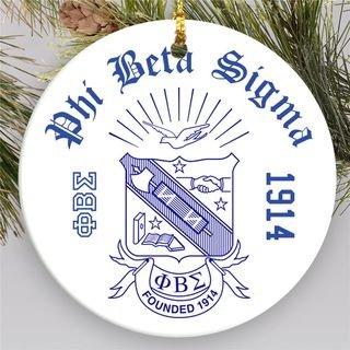Phi Beta Sigma Round Christmas Shield Ornament