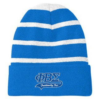 Phi Beta Sigma Striped Beanie with Solid Band
