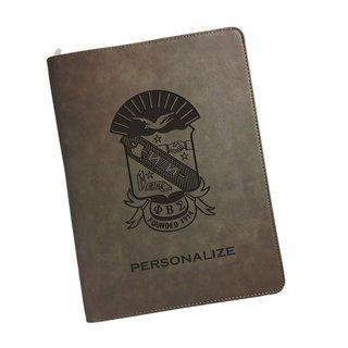 Phi Beta Sigma Zipper Leatherette Portfolio with Notepad